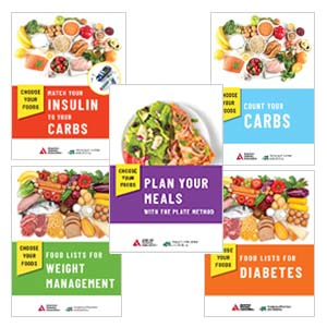 The cover of five of the products that are apart of the Choose Your Foods Client Education Sampler Pack