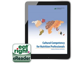 Cover of the Cultural Competency for Nutrition Professionals eReader on Tablet