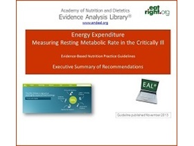 Energy Expenditure: Measuring RMR in the Critically Ill Guideline Presentation